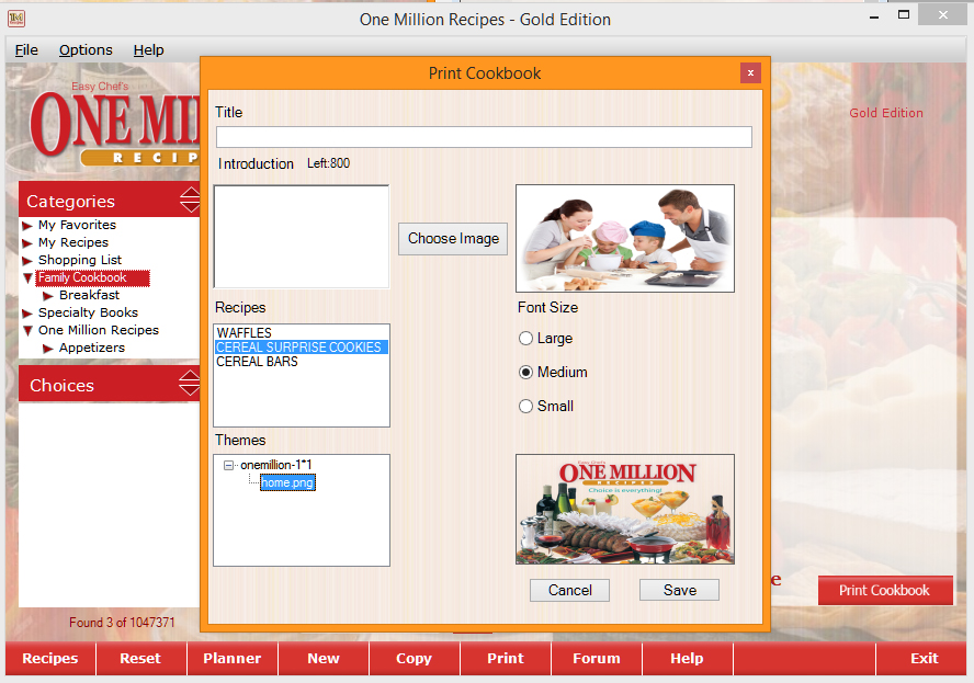 one million recipes cooking recipe software